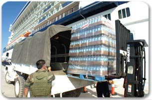 Palettes of water being loaded into a UN truck
