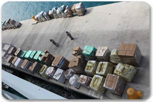 Aerial view of pallets to be distributed in Haiti