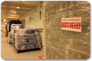 Relief supplies onboard the Jewel of the Seas en route to Haiti