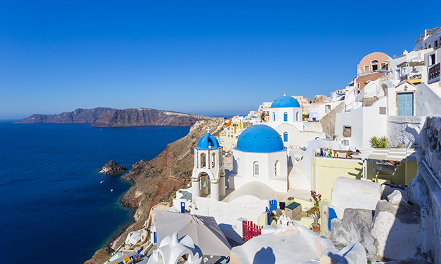 Island of Santorini and Oia Village
