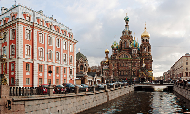 Panoramic St. Petersburg with Peter and Paul Fortress Territory